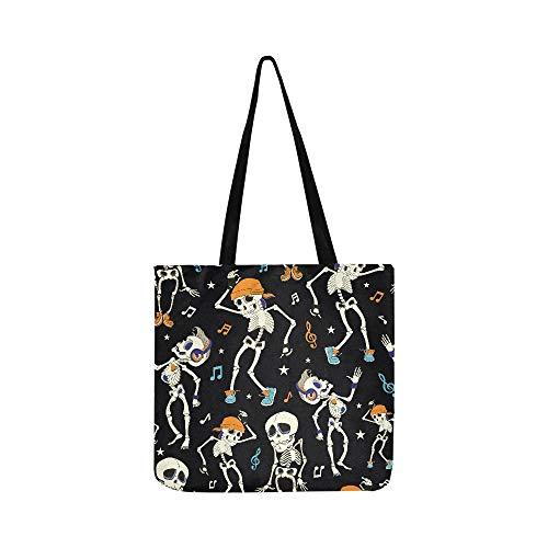 Vector Dancing Skeletons Party Halloween Seamless Canvas Tote Handbag Shoulder Bag Crossbody Bags Purses For Men And Women Shopping Tote