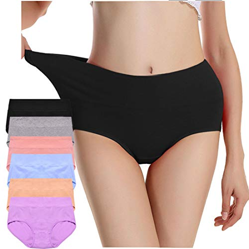 Envlon Womens Cotton Underwear, Mid Waist Soft Breathable Stretchy Ladies Panties Brief Multipack, Light Colors, Large, 6pack