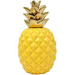 "Gift Boutique 9"" Elegant Ceramic Pineapple Centerpiece Decor Yellow with Gold Metallic Crown Figurine Modern Coffee Desk Table Room Kitchen Home Decorative Accessories"
