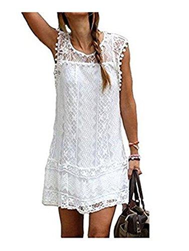 Taiduosheng Women Plus size S-4XL Casual Sleeveless Beach - White Plus Size Beach Dress
