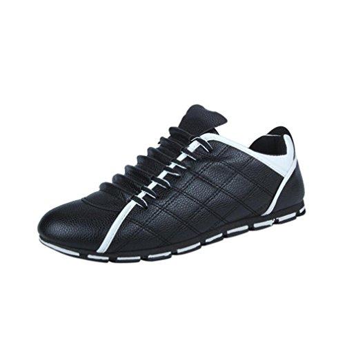 BYSTE Scarpe da Uomo Nuovo Stile Moda Casuale Scarpe di Pelle Confortevole Traspirante Ballerine Scarpe Stile Britannico Sneakers Nero