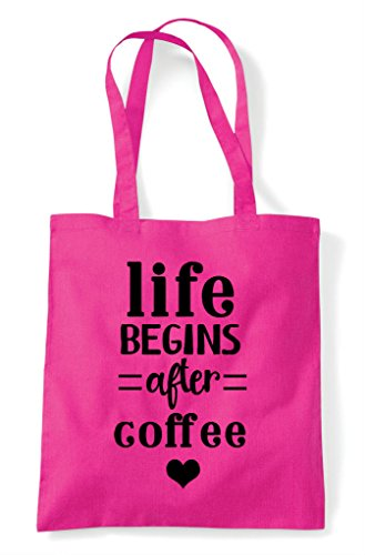 Tote After Statement Coffee Life Bag Fuschia Begins Shopper qw6gII