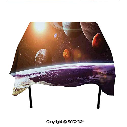 SCOXIXI Home accesorries Tablecloth Washable Polyester Fabric,Space Theme View of The Planets from Earth Science Room Art with Sun and Moon,W55XL55 Inches (Distance From Earth To Moon In Inches)