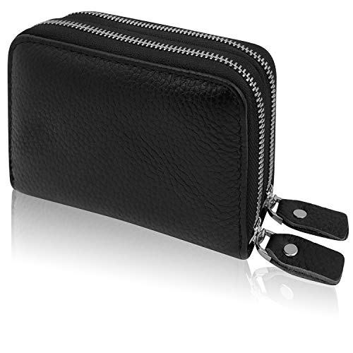 Prime 3in1 Rfid Blocking 2 Double Zip Around Wallet Genuine Leather Quality Stainless Steel Metal Zipper 20+ Credit Card Case Holder Secure Man/Women Small Slim Thin Front Pocket Id Window Black