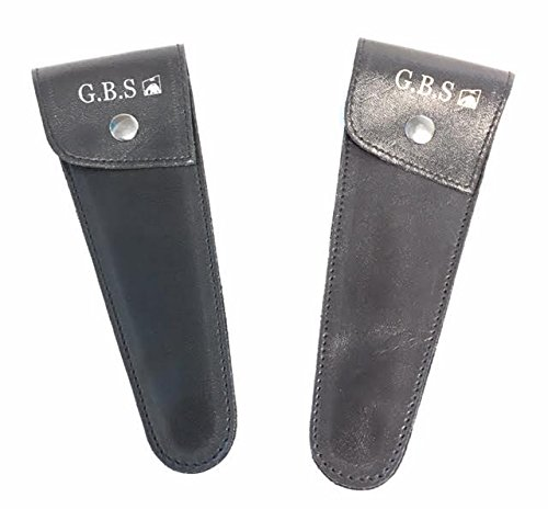 GBS Professional Barber Scissor Case. Luxury Leather Pouch Protects Trimming & Hair Cutting Shears, Beard & Mustache Scissors. Set of 2 Brown & Black. Perfect for Travel Carry Bag. 7.25'' by GBS (Image #4)