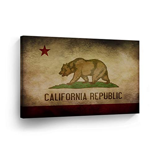 - SmileArtDesign Los Angeles Wall Art Grunge California Republic State Flag Canvas Print California Home Decor Artwork Gallery Wrapped Wood Stretched and Ready to Hang -%100 Handmade in The USA - 8x12