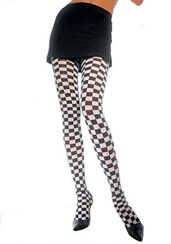Checker Board Pantyhose (Black/Royal Blue;One Size) (Royal Checkerboard Blue)