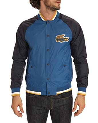 bbe6be17a LACOSTE LIVE - Jackets - Men - Tri-colour Waterproof Varsity Jacket - 52   Amazon.co.uk  Clothing