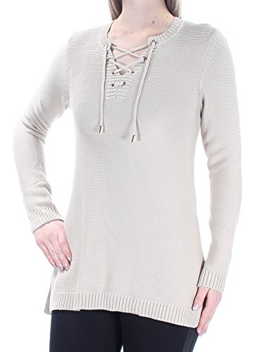 Charter Club $69 Womens New 1404 Beige Tie Jewel Neck Long Sleeve Sweater M B+B ()