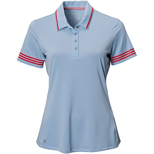 Adidas Antimicrobial Polo Shirt - adidas Golf Women's 3-Stripes Tipped Short Sleeve Polo T-Shirt, Easy Blue, Medium