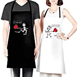 TONIFUL 2 Pack Wedding Newlyweds Couples Gift Aprons Set, Adjustable and Waterproof Cooking Kitchen Bib Apron for Women Men Chef (I Love You & I Love You Too)