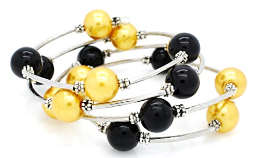 Memory Wire Wrap Bracelet - Faux Pearl - Rhodium Plated - Black Gold ()