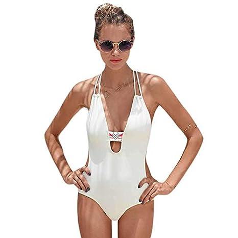 c41cc6310a Amazon.com: Toimothcn Women One Piece Backless Lace Up Bikini Swimwear  Swimsuit (White,XL): Clothing