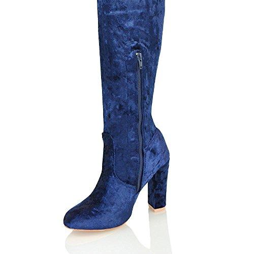 Essex Glam Botas Sobre Las Rodillas Para Mujer Atado Con Cordones Bloque Con Cremallera Botas De Tacón Alto De Terciopelo Arrugado De Tacón Alto Terciopelo Azul Marino