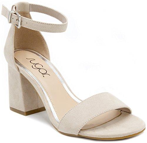 Sugar Women's Noelle Block Heel Pump Dress Shoe Sandal 8.5 Taupe Microsuede by Sugar