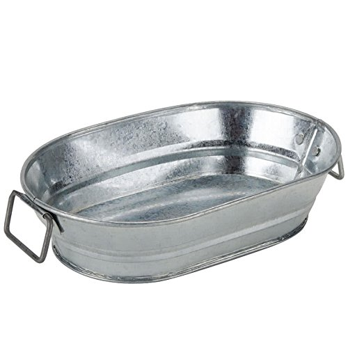 American Metalcraft MTUB69 Natural Galvanized Steel Oval Tub with Side Handle, 9