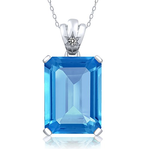 Gem Stone King 16.03 Ct Octagon Swiss Blue Topaz White Diamond 925 Sterling Silver Pendant