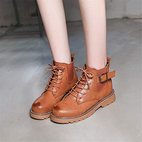 Moda Otoño Para Marrón Martin Con De Botas Inglaterra marrón Yan Hebilla Mujer Botines Tacón Negro Vestir Zapatos Invierno Bgwq5vxt