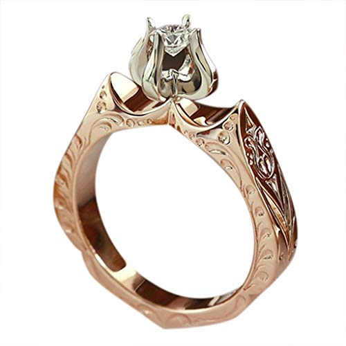 Gleamfut Gorgeous Lotus Flower Diamond Ring Fashion Lady's Diamond Wedding Ring Engagement Jewelry