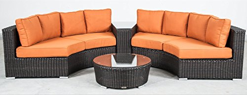 US Patio All-Weather Resin Wicker Half-Moon Circular Seating Set S-521 price