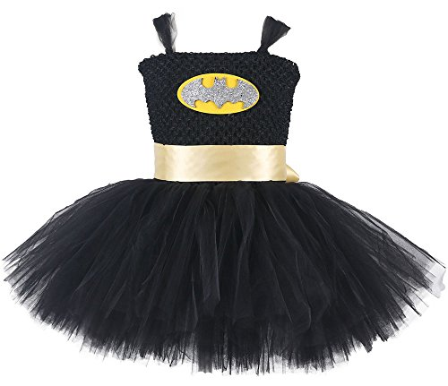 Tutu Dreams Hero Costumes For Toddler Girls With Removable Sash (M, (Bat Girl Toddler Costume)