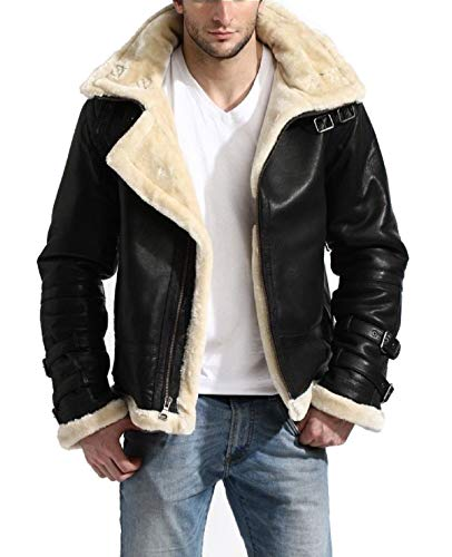 LP-FACON B3 Aviator Pilot White Fur Shearling Bomber Black Leather Jacket | Removable Hood, X-Large (Black Leather Jacket With White Fur Collar)
