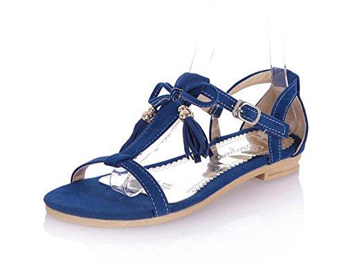 MUJER Peep Toe Sandalias Pajarita Borla Zapatos Matte PU Tamaño Grande Sandalias Mujer Femenino 2017 Nuevo blue