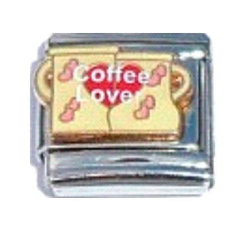 Stylysh Charms Coffee Lover Cappuccino Latte Mug Enamel Italian 9mm Link FO027