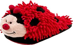 Kreative Kids Fuzzy Ladybug Slippers (Red & Black, Adult)