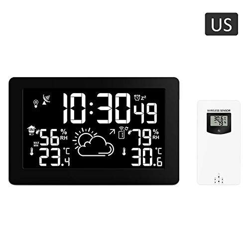 XZAQfs Humidity Clock, Weather Forecast Clock Large Screen Display Temperature Humidity Radio Clock