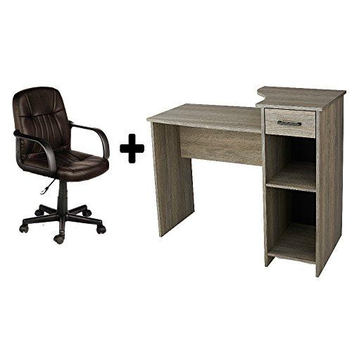 Leather Oak Desk (Student Desk - Home Office Bedroom Furniture Indoor Desk with Durable Split-cow Leather Mid-Back Chair, Bundle Set - Rustic Oak Desk + Brown Chair))