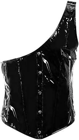 Agoky メンズ ベスト レザーシャツ タンクトップ Tシャツ コスチューム 袖なし 男性 インナー タイト ステージ衣装 かっこいい 舞台服 クラブウェア ブラック XXL