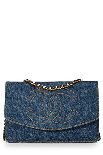 (CHANEL Blue Denim Timeless Classic Wallet on Chain (WOC) (Pre-Owned))