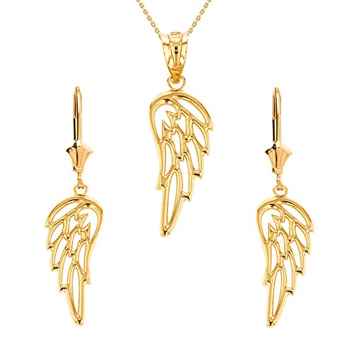 Religious Jewelry by FDJ Solid 14k Yellow Gold Guardian Angel Filigree Wing Necklace and Earring Set, 22