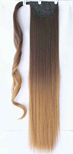 Ombre Wrap Around Ponytail Synthetic Clip in Hair Extensions Hairpieces (Straight-dark brown to honey blonde)