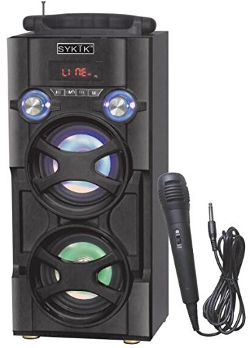 Sykik SP966BT, Bluetooth Karaoke, PA system, Tower speaker, boom box. Rechargeable battery. With FM, SD, USB, Mic, & AUX ports. Beautiful Color changing LED light speakers. Remote Control. Karaoke Box