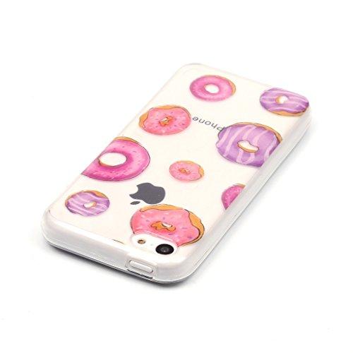 rot Krapfen Drucken Design weich Silikon TPU schutzhülle Hülle für Apple iPhone 5C,Premium Handy Tasche Schutz Case Cover transparent Schale für Apple iPhone 5C