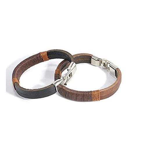 ERAWAN New Surfer Men's Vintage Hemp Wrap Leather Wristband Bracelet Cuff Black Brown EW sakcharn (Black) by Hithop (Image #1)