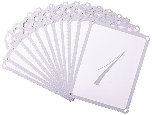 Ginger Ray Silver Heart Table Tent Numbers 1-12 for Wedding or Party, - Ray Number Ray