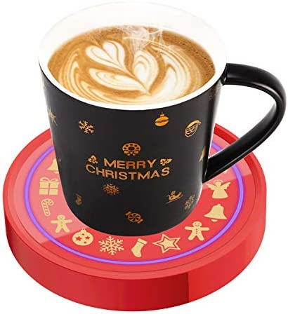 Coffee Mug Warmer, Cup & Coffee warmer Smart Thermostat Coaster for Hot Tea Beverage Office/Home Desk Use with Gravity Switch Auto On/Off 135F, Ring LED Indicator (SET-Christmas)