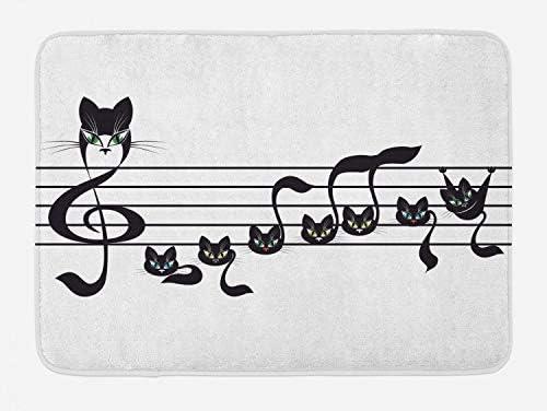 Lunarable Music Bath Mat Black White 29.5 W X 17.5 W Inches Notes Kittens Kitty Cat Artwork Notation Tune Children Halloween Stylized Monochrome Plush Bathroom Decor Mat with Non Slip Backing