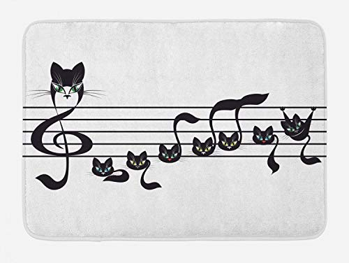 Lunarable Music Bath Mat, Notes Kittens Kitty Cat Artwork Notation Tune Children Halloween Monochrome, Plush Bathroom Decor Mat with Non Slip Backing, 29.5 W X 17.5 L Inches, Black Print]()