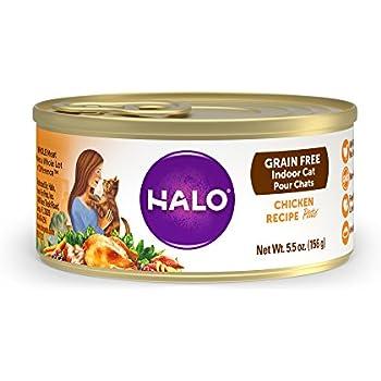 Halo Holistic Wet Cat Food for Indoor Cats, Grain Free Chicken Pâté 5.5 OZ of Indoor Cat Food, 12 Cans