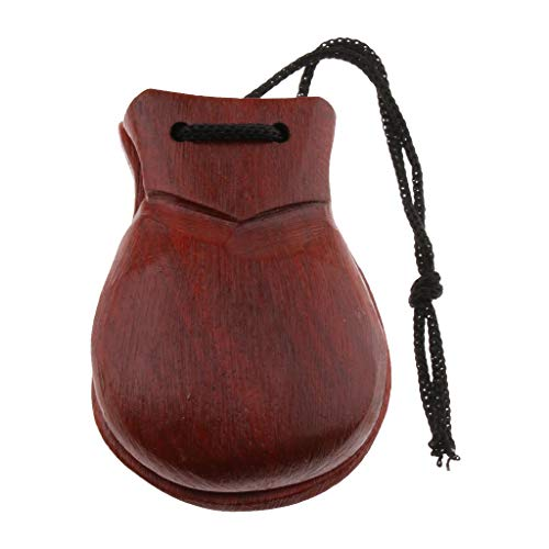 Flameer Exquisite Wooden Hand Clapper Clicker Castanet Small Percussion Brown