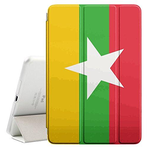 STPlus Burma Burmese Flag Smart Cover With Back Case + Auto Sleep/Wake Funtion + Stand for Apple iPad 2017 (9.7