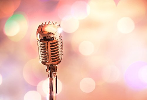 CSFOTO 5x3ft Background for Retro Microphone Abstract Bokeh Halos Photography Backdrop Music Concert Performance karaoke Entertainment Metallic Audio Speak Photo Studio Props Polyester Wallpaper