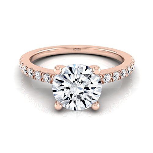 (14K Rose Gold Prong Set 3/4 ct. t.w. Round Brilliant Cut Diamond Engagement Ring, Size 7.5)