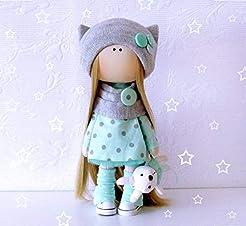 Textile Art dolls Handmade doll Gift Fab...