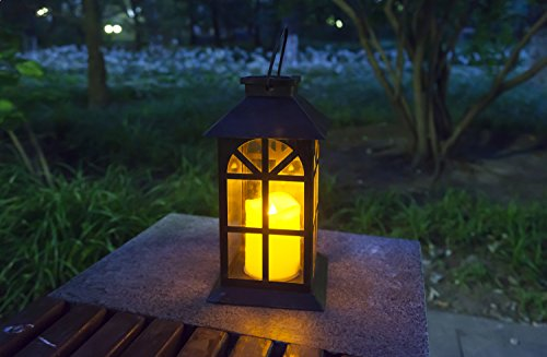 SteadyDoggie Sports & Outdoors Indoor and Outdoor Solar Lantern Decor Antique Metal and Glass Construction Estate Solar Mission Lantern Patio Lawn and Garden Decor