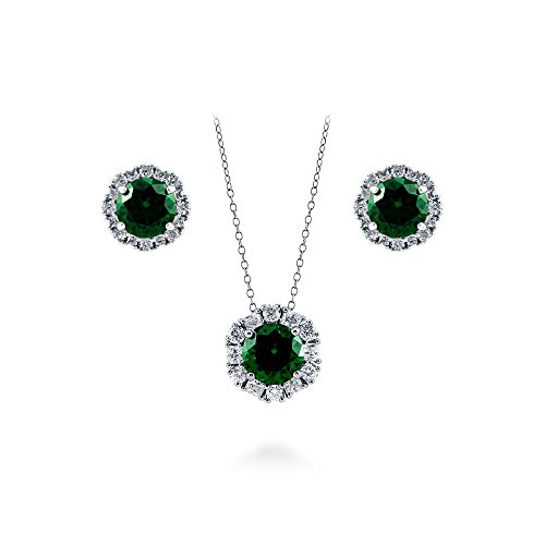 BERRICLE Rhodium Plated Sterling Silver Cubic Zirconia CZ Art Deco Halo Necklace and Earrings Set by BERRICLE